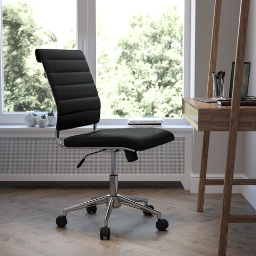 Mid-Back Armless Black LeatherSoft Contemporary Ribbed Executive Swivel Office Chair