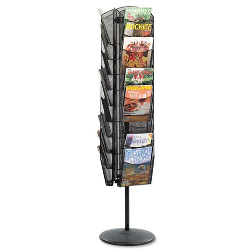 Our Safco® Onyx Mesh Rotating Magazine Display - 30 Compartments - 16-1/2w x 66h - Black is on sale now.