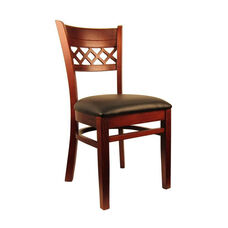 Lattice Back Side Chair with Dark Mahogany Finish