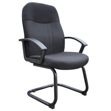 Mid Back Fabric Guest Chair with Arms - Black