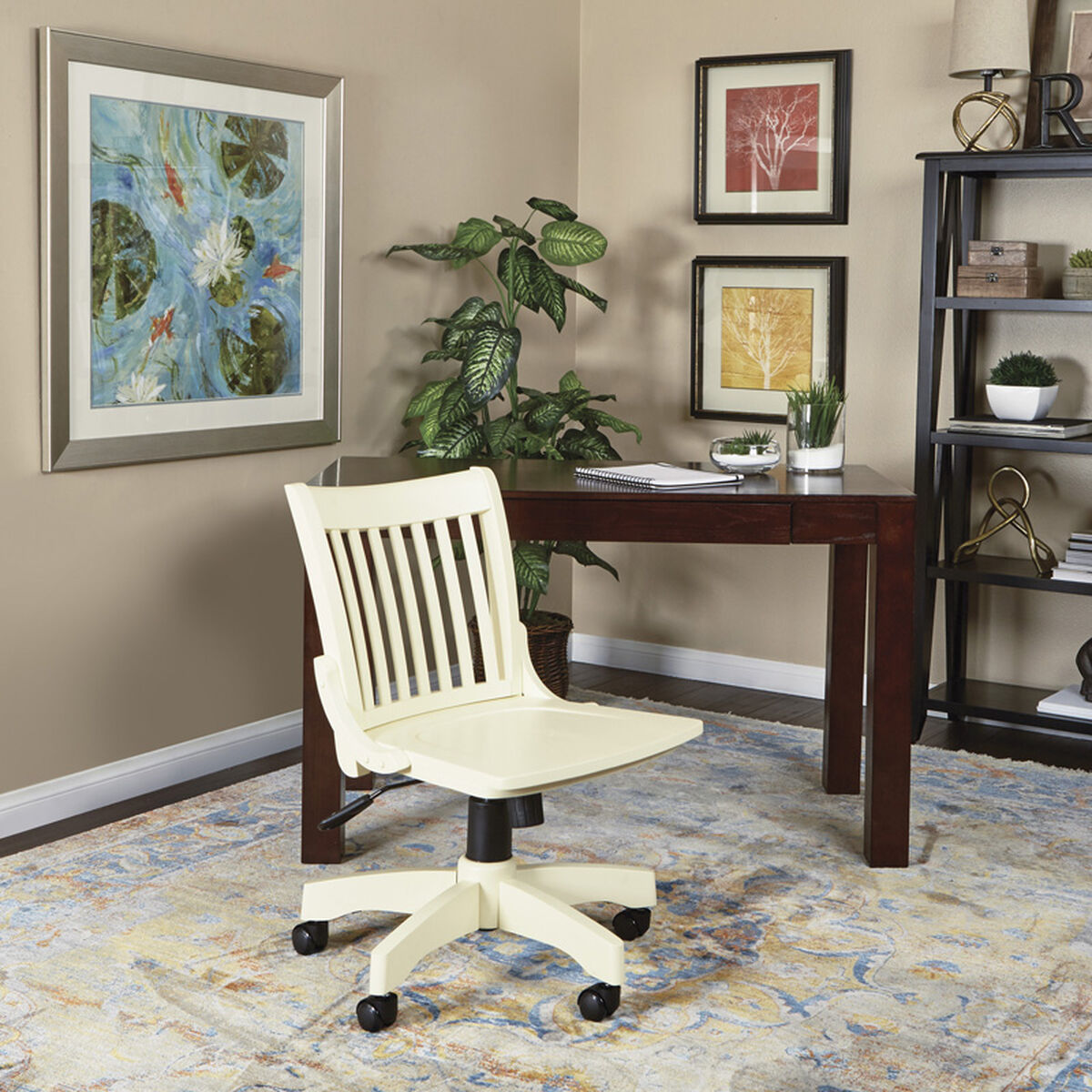 Osp Designs Deluxe Armless Wood Banker S Desk Chair With
