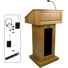 Victoria Wireless 150 Watt Sound and Hand Held Mic Lectern - Oak Finish - 26.375