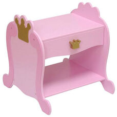 Princess Themed Wooden Low Height Side Table with Storage Drawer - Pink