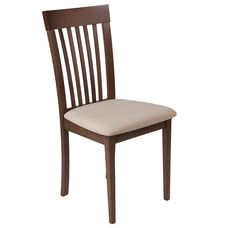 Wellington Walnut Finish Wood Dining Chair with Rail Back and Beige Fabric Seat