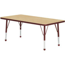 Adjustable Standard Height Laminate Top Rectangular Activity Table - Maple Top with Burgundy Edge and Legs - 30