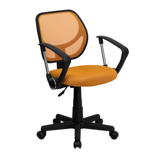 Our Low Back Orange Mesh Swivel Task Office Chair with Arms is on sale now.