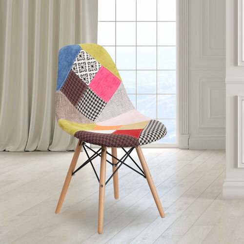 Our Elon Series Milan Patchwork Fabric Chair with Wooden Legs is on sale now.