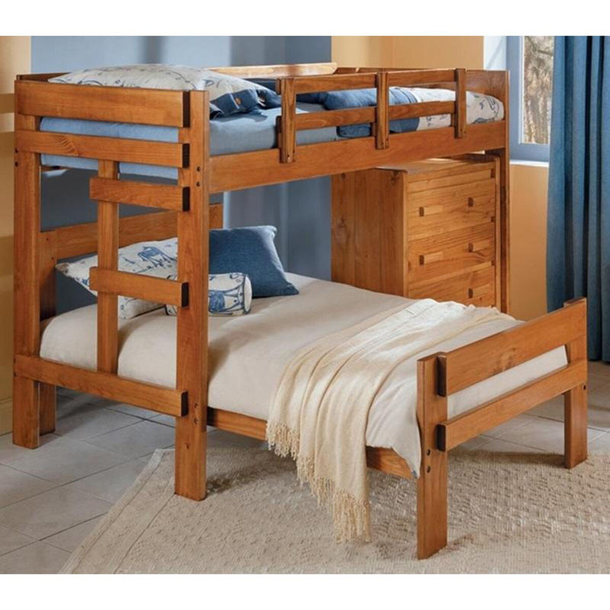 Chelsea Home Furniture Rustic Style Solid Pine L Shaped Twin Over Twin Loft Bed With 4 Drawer
