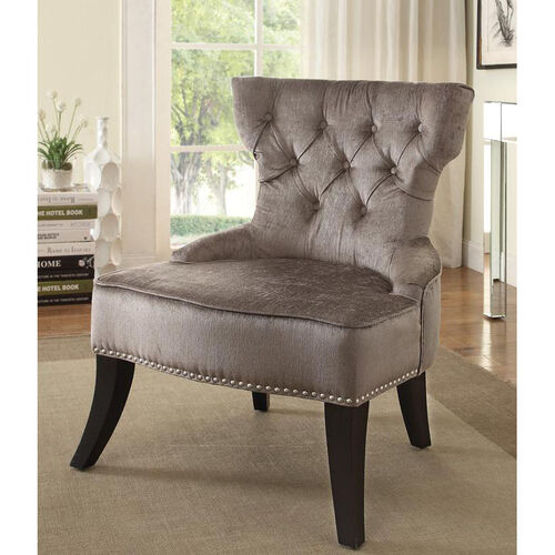 Our Ave Six Colton Vintage Style Button Tufted Velvet Chair - Brilliance Otter is on sale now.