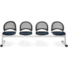 Moon 4-Beam Seating with 3 Vinyl Seats - Navy