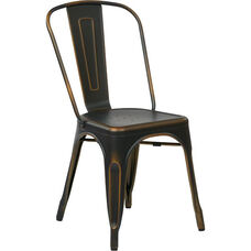 OSP Designs Bristow Stackable Armless Metal Chair - Set of 2 - Antique Copper