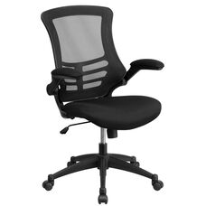 Mid-Back Black Mesh Swivel Task Chair with Flip-Up Arms