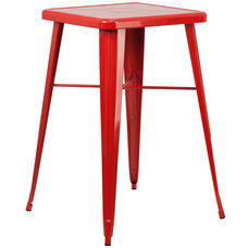 "Commercial Grade 23.75"" Square Red Metal Indoor-Outdoor Bar Height Table"