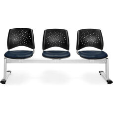 Stars 3-Beam Seating with 3 Vinyl Seats - Navy