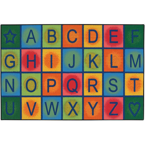 Kids Value Simple Alphabet Blocks Rectangular Nylon Rug - 48