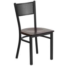 Black Grid Back Metal Restaurant Chair with Walnut Wood Seat
