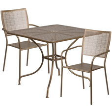 """Commercial Grade 35.5"""" Square Gold Indoor-Outdoor Steel Patio Table Set with 2 Square Back Chairs"""