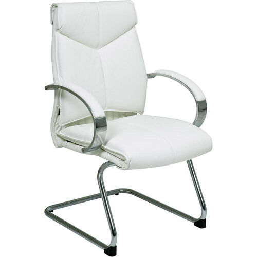 Pro-Line II Deluxe Mid Back Leather Visitors Chair with Padded Arms and Chrome Sled Base - White