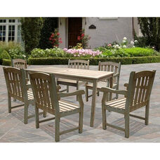Renaissance Outdoor 7 Piece Hand-Scraped Wood Dining Set with Table and 6 Armchairs