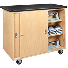 Science Lab Mobile Wooden Storage Cabinet with 1.25