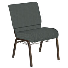 Embroidered 21''W Church Chair in Canterbury Pewter Fabric with Book Rack - Gold Vein Frame