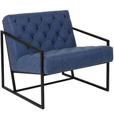HERCULES Madison Series Retro Blue Leather Tufted Lounge Chair