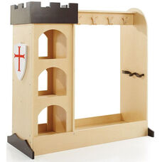 Wooden Castle Dramatic Play Storage Unit with Full Length Mirror and Three Open Storage Compartments - 43