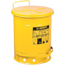 10 Gallon Steel Foot-Operated Oily Waste Can - Yellow