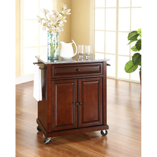 Our Solid Granite Top Portable Kitchen Island with Casters - Vintage Mahogany Finish is on sale now.