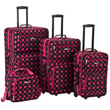 Rockland 4 Pc. Luggage Set - Black and Pink Dot