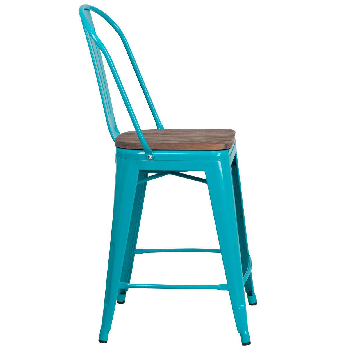 Magnificent 24 High Crystal Teal Blue Metal Counter Height Stool With Back And Wood Seat Machost Co Dining Chair Design Ideas Machostcouk