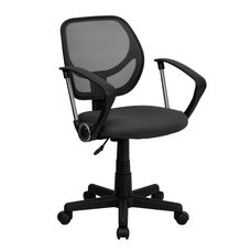 Low Back Gray Mesh Swivel Task Office Chair with Arms