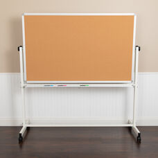 "HERCULES Series 45.25""W x 54.75""H Reversible Mobile Cork Bulletin Board and White Board with Pen Tray"