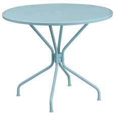 "Commercial Grade 35.25"" Round Sky Blue Indoor-Outdoor Steel Patio Table"