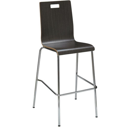 Our JIVE Series Stacking Bentwood Armless Cafe Barstool with HPL Surface and Silver Steel Frame - Espresso is on sale now.