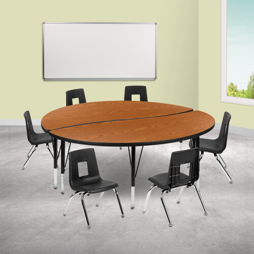 "Our 60"" Circle Wave Collaborative Laminate Activity Table Set with 12"" Student Stack Chairs, Oak/Black is on sale now."