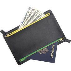 RFID Blocking Dual Pocket Travel Organizer - Saffiano Genuine Leather - Black