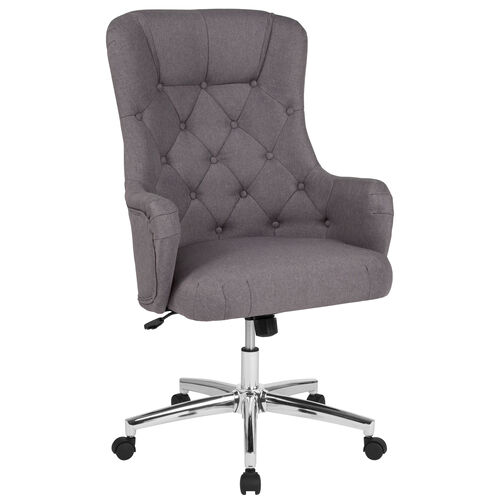 Our Chambord Home and Office Upholstered High Back Chair in Light Gray Fabric is on sale now.