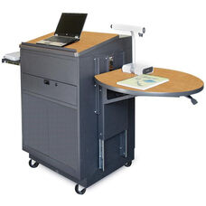 Vizion Sit Stand Mobile Teaching Center with Steel Doors and Lectern - Dark Neutral Finish and Oak Laminate
