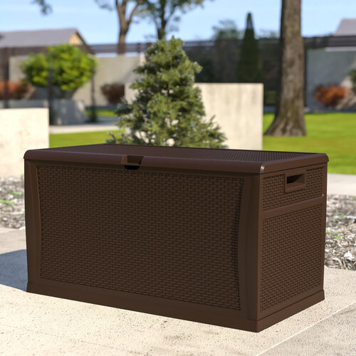 120 Gallon Plastic Deck Box - Outdoor Waterproof Storage Box for Patio Cushions, Garden Tools and Pool Toys, Brown