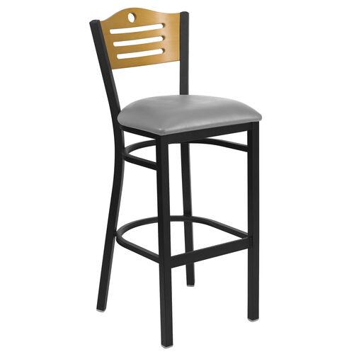 Our Black Slat Back Metal Restaurant Barstool with Natural Wood Back & Custom Upholstered Seat is on sale now.