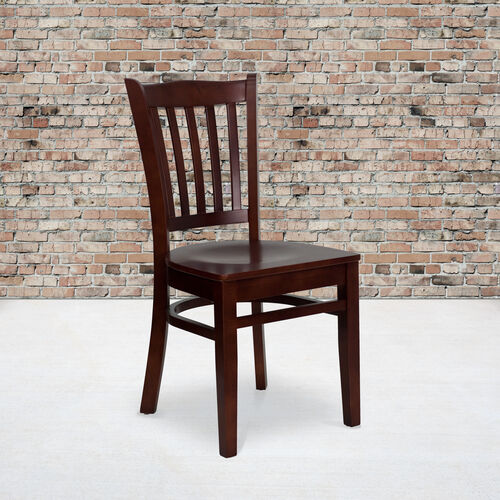 Our Mahogany Finished Vertical Slat Back Wooden Restaurant Chair is on sale now.