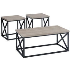 Orion Ash X-Side 3-Pc. Table Set with Tubular Steel and Techmetric Ash