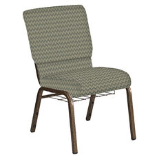 18.5''W Church Chair in Rapture Tranquil Fabric with Book Rack - Gold Vein Frame