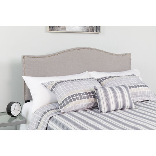 Our Lexington Upholstered Full Size Headboard with Accent Nail Trim in Light Gray Fabric is on sale now.