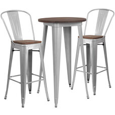 "24"" Round Silver Metal Bar Table Set with Wood Top and 2 Stools"