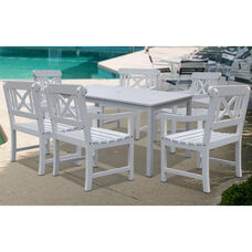 Bradley Outdoor 7 Piece Wood Patio Dining Set with Table and 6 X Back Armchairs - White