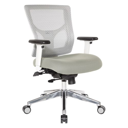 Our Pro-Line II ProGrid White Mesh Mid Back Office Chair with 2-Way Adjustable Arms - Grey Fabric Seat is on sale now.