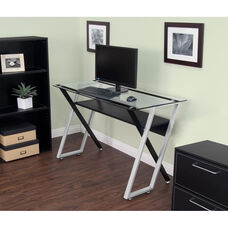 Colorado Clear Tempered Glass and Steel Desk with Criss-Crossed Legs - Black and Silver