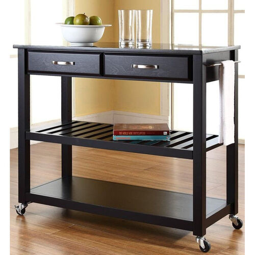 Our Solid Black Granite Top Kitchen Island Cart - Black Finish is on sale now.